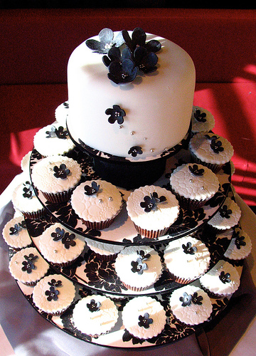 cupcake wedding cake for a wedding reception Black and White Wedding